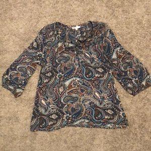 3/4 sleeve paisley dress top